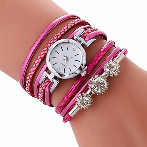 Clearance!!! Pengy Ladies Bracelet Diamond Circle Watch Student Fashion Table (Hot Pink)