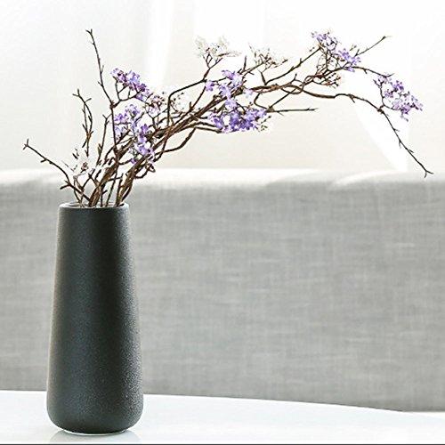 Scandinavian Style Home Garden Office Ceramic Flower Vase Flower Pot For Home Decor Living Room Office And Centerpiecesn (Black)