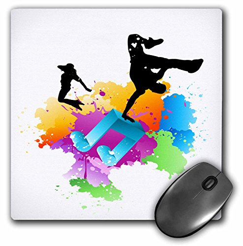 (3dRose Anne Marie Baugh Music - Blue Musical Note On A Multi Color Splash Grunge Background With Silhouettes Of Hip Hop Dancers - MousePad (mp_158869_1))