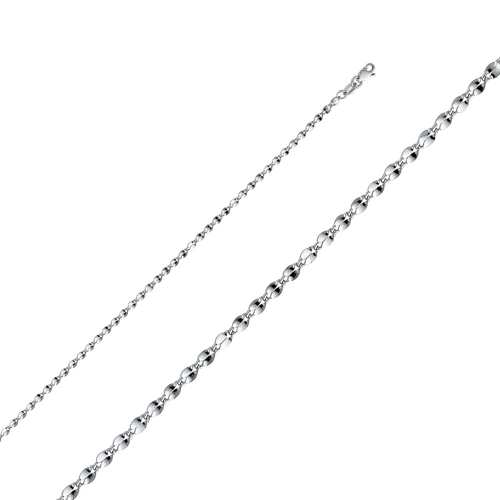 14K Yellow Ioka White OR Rose Gold 2.2mm Hollow Curve Mirror Chain Necklace with Lobster Clasp