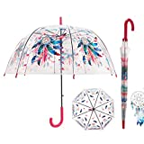 iMucci 40 Inch Dream Catcher Bubble Umbrella - Clear Stick Umbrella Birdcage Dome See ThroughTransparent POE Umbrella Windproof Automatic Open Umbrella for Girls Women (RED)