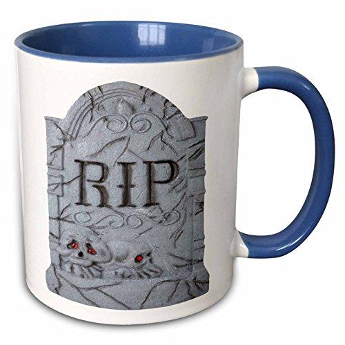 3dRose Blonde Designs Happy and Haunted Halloween - Halloween RIP Headstone with Skulls - 15oz Two-Tone Blue Mug (mug_131314_11)]()