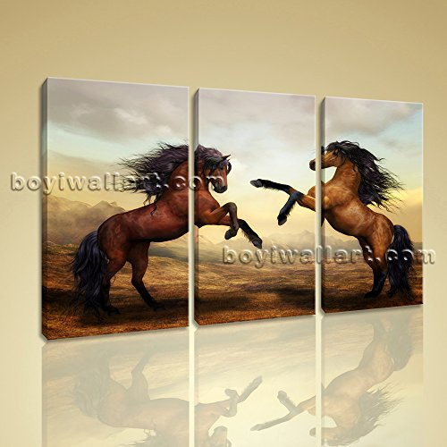 Contemporary Abstract Landscape Horse Painting Print Canvas Wall Art Home Decor, Large Horse Wall Art, Bedroom, Celeste ()
