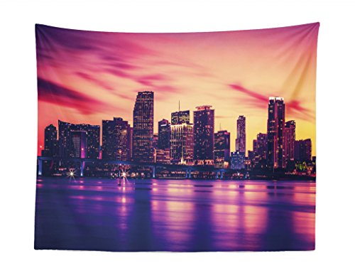 Lunarable United States Tapestry, View of Miami at Sunset Building Urban Modern City Life Ocean Skyline, Fabric Wall Hanging Decor for Bedroom Living Room Dorm, 28 W X 23 L inches, Purple Pink Peach