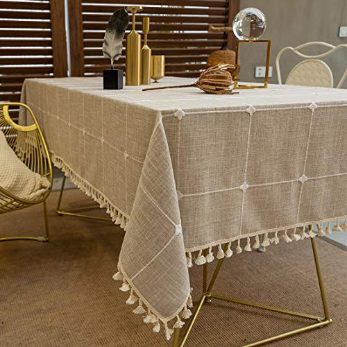 TEWENE Tablecloth, Rectangle Table Cloth Cotton Linen Wrinkle Free Anti-Fading Checkered Tablecloths Washable Dust-Proof Embroidery Table Cover (Rectangle/Oblong, 55''x120'',10-12 Seats, Light Brown) (Oval Tables)