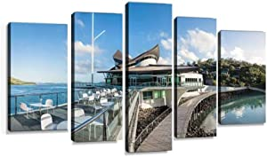 XEPPO Hamilton Island Yacht Club Prints Canvas Wall Art Abstract Landscape Photography Paintings for Modern Home Decor 5Pcs Modern Stretched and Framed