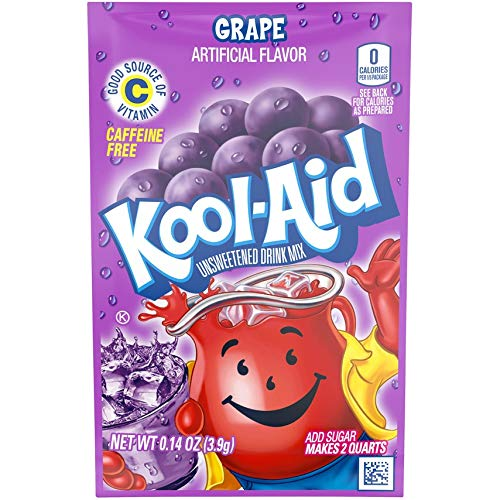 Kool-Aid Grape Unsweetened Soft Drink Mix, 0.14 Oz (Bonus Pack of 50 Packets)