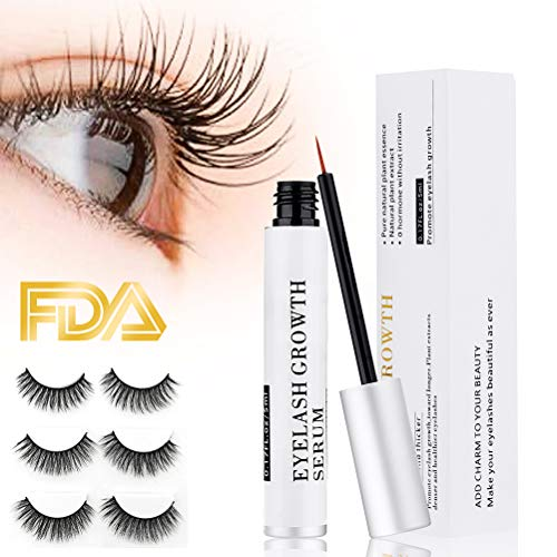 Eyelash growth serum Eyelash Growth Enhancer & Brow Serum for Long, Luscious Lashes and Eyebrows No-irritating formula 5ml (Include 3 Pair of False Eyelash)