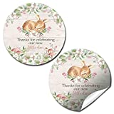 Watercolor Floral Little Deer Thank You Sticker Labels for Girls, 40 2'' Party Circle Stickers by AmandaCreation, Great for Party Favors, Envelope Seals & Goodie Bags