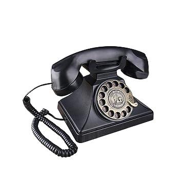 gaeruite Classique Noir téléphone rétro avec Cadran Rotatif,Téléphones  Fixes Vintage avec Fonction Main- dae450eb13fb
