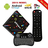 [2018 Newest 4G 32G TV Box with Backlit Keyboard] EstgoSZ TV BOX H96 Max H2 RK3328 4K Android 7.1 Smart TV Box Support 2.4G/5G Dual Wifi/100M LAN/BT 4.0/3D /H265 Gift Box
