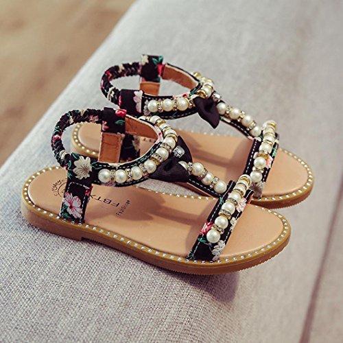 IGEMY 2018 Führende Schuhe, Kinder Mädchen Perle Crystal Roman Sandalen Prinzessin Schuhe Schwarz