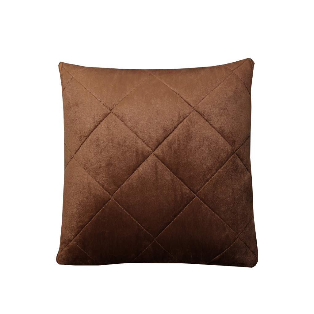 Pillow Quilt, Pillow Quilt Multi-function Solid Color Pillow Car Air Conditioning Cushioned Office Nap Hair Blanket Pillow Can Be Machine Washable Dual-use Pillow Does Not Fade ( Color : Coffee ) by NIUYAN