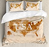 Americana Duvet Cover Set by Ambesonne, Early American Retro Map Of The Country Southwest And Alaska Image Print, 3 Piece Bedding Set with Pillow Shams, King Size, Peru Brown White