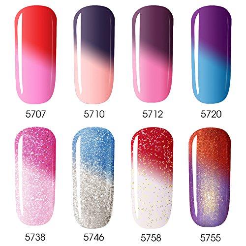 Vrenmol 8 Colors Mood Gel Nail Polish Set Soak Off UV LED Temperature Color Changing Nail Manicure Kit 8ml