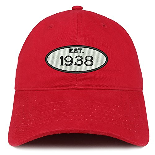 Red Brushed Cotton Cap (Trendy Apparel Shop Established 1938 Embroidered 80th Birthday Gift Soft Crown Cotton Cap - Red)