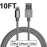 iphone charger, GOOLEEN 10ft/3M Lightning Cable Nylon Braided Charging Cable Extra Long USB Syncing Cord for iPhone 7/7 plus se/6s/6s Plus/6/6 Plus/5s/5c/5, iPad Air 2/Air/Mini 4/3/2/Pro on iOS9 -Grey