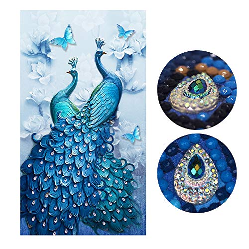 Diamond Painting Full Drill Beautiful Peacock DIY Arts Craft for Home Wall Decor (60 x 100 cm)