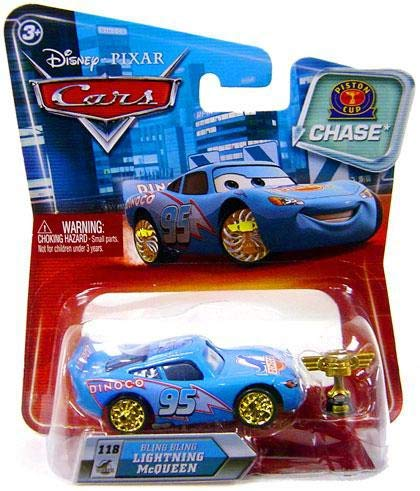 (Disney / Pixar CARS Movie 155 Die Cast Car with Lenticular Eyes Series 2 Piston Cup Bling Bling Lightning McQueen Chase)