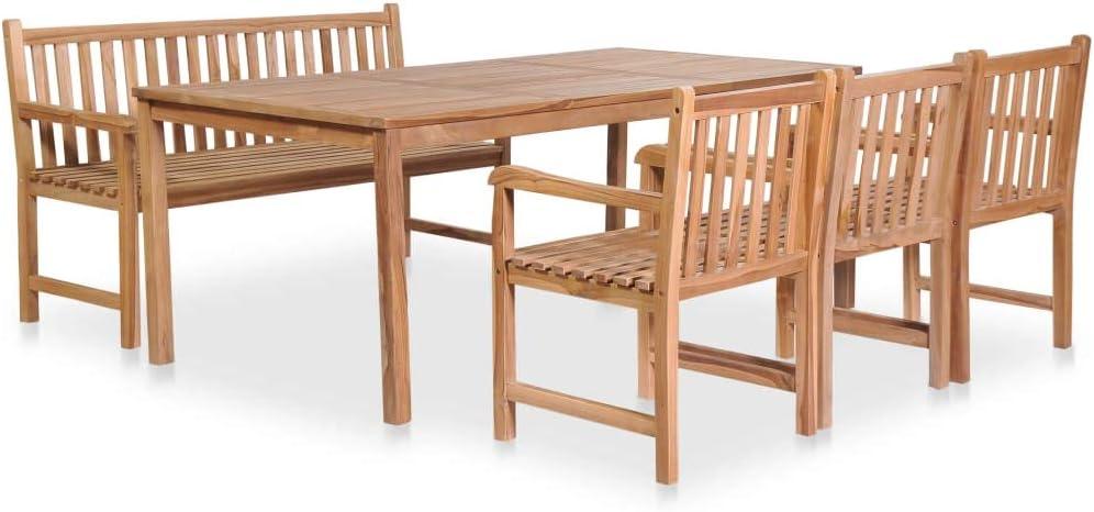 Tidyard Gartenset Sitzgruppe Set 4+1 | Teakholz Massiv 5-TLG Garten-Essgruppe | Sitzgarnitur Holz Gartenmöbel Set,1 Tisch,3 Stühle und 1 Bank