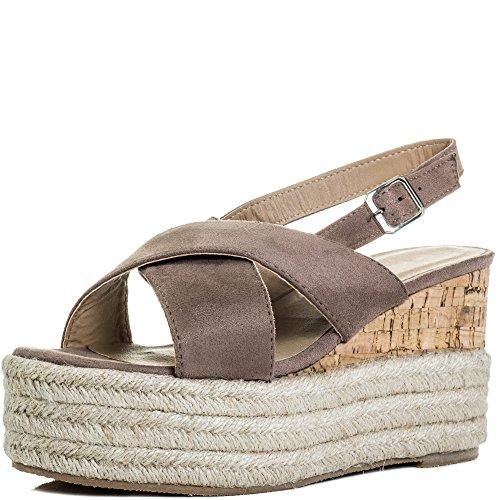 Platform Espadrille Spylovebuy Wedge Sandals Dutch Style Heel Women's Shoes Courage Brown Suede wwqt1ZA