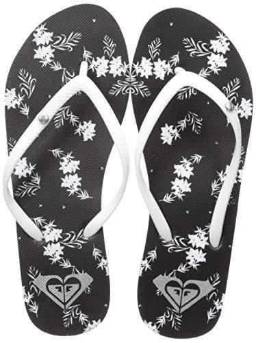 (Roxy Women's Bermuda Flip Flop Sandal, Black and White Print, 10 M US)