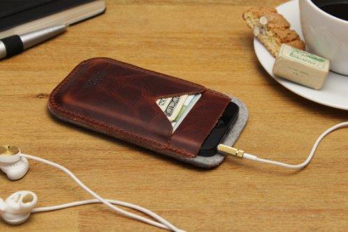 Pack & Smooch - iPhone 4S / 4 Pochette, Case, Etui -HERDWICK- En Feutre De Laine 100 % Mérinos Et Cuir Naturel à Tannage Végétal