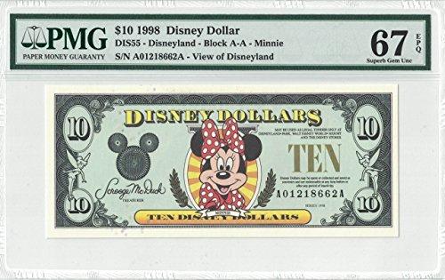 Disney Dollar 1998 $1 Minnie Mouse A01218662A PMG 67 EPQ Superb Gem Unc