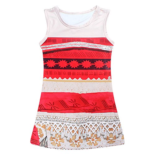 AOVCLKID Moana Little Girls' Dress Princess Cartoon Party Dress (120/4-5Y)