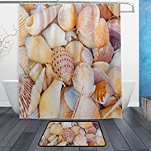 WOZO Sea Theme Seashell Polyester Fabric Bathroom Shower Curtain 60 x 72 inch with Hooks Modern Bathroom Doormat Rug 23.6 x 15.7 inch
