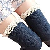 Tuesdays2 Women's Lace Trim Knee-High Boot Socks (Navy blue)