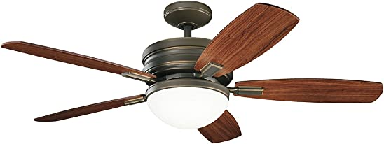 Kichler 300238OLZ Carlson 52 Ceiling Fan with LED Light and Wall Control, Oiled Bronze