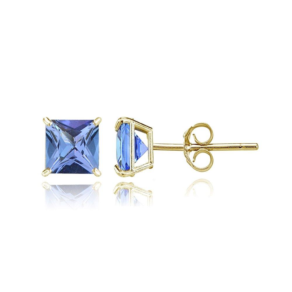 Bria Lou 14k Yellow Gold Tanzanite Gemstone 5mm Square-Cut Solitaire Stud Earrings