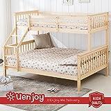 UEnjoy Bed Frame Triple Sleeper Pine Wood Ladder on 2 Sides Both for Adult and Children