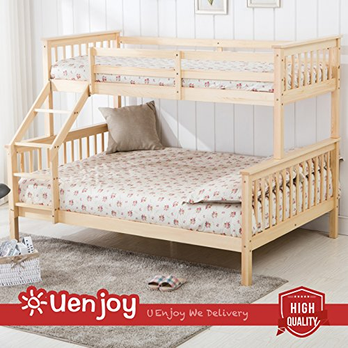 UEnjoy Triple Sleeper Bed Pine Wood Ladder Bunk bed for Adult and Children Natural