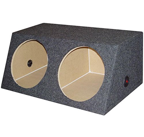 Q Power BASS12 Dual 12-Inch Sealed Angled Subwoofer Enclosure Box (Enclosure Subwoofer Angled)