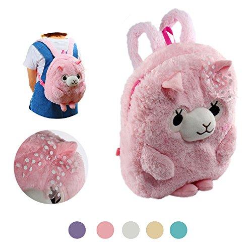 Plush Animal Backpack (KOSBON 13'' 3D Cute Plush Alpaca Toddler Backpack Children Schoolbag. (Pink Backpack))