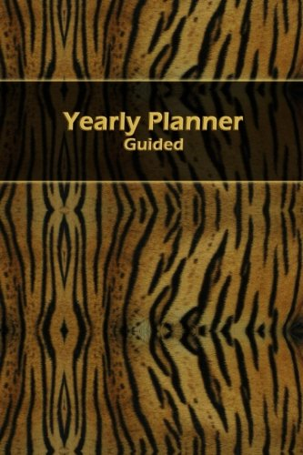 """Yearly Planner Guided: Tiger Skin motif 40 page 6"""" x 9"""" blank form yearly planner that you can use for any year."""