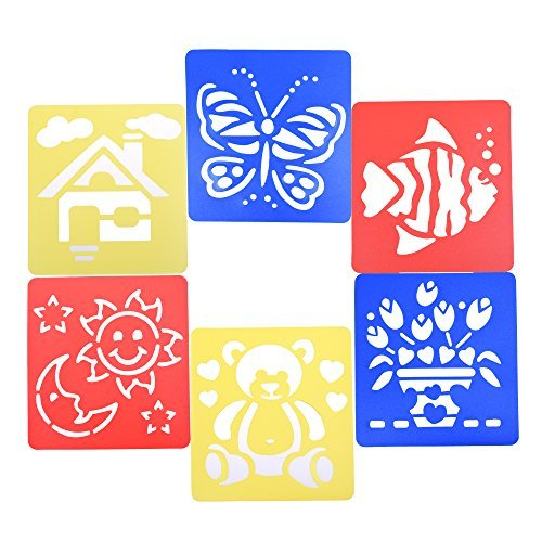 BCP Set of 6 Assorted Color Animal Happy Life Drawing Painting Stencils Templates for Kids