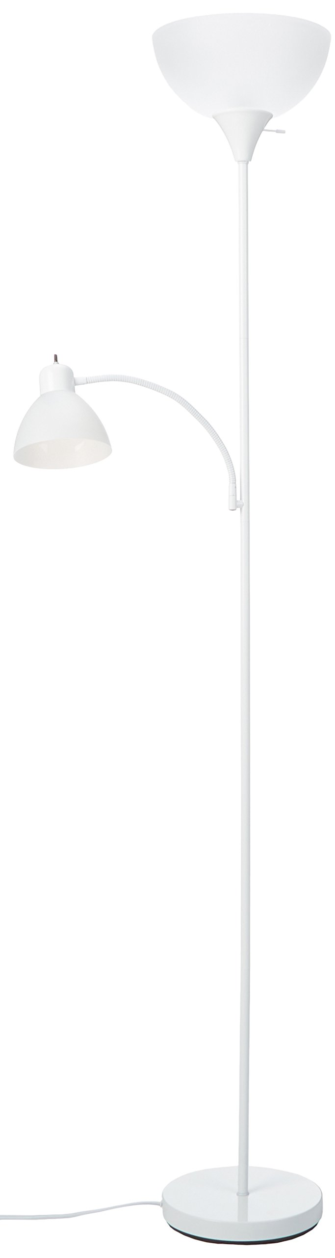 Park Madison Lighting PMF-9170-30 72-Inch Tall 150-Watt Torchiere Floor Lamp with Adjustable Reading Side Arm Lamp, White Finish with Frosted Shade