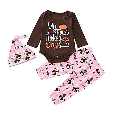 3PCS Newborn Baby Boy Girl Thanksgiving Letter Romper+ Pant+Hat Set Clothes