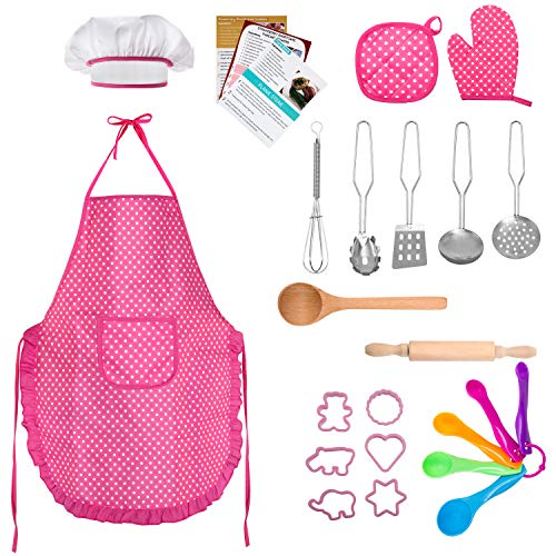 TEPSMIGO Kids Chef Role Play Costume Set 22 PCS, Toddler Cooking and Baking Set with Apron, Chef Hat, Recipe Cards, Cooking Mitt, Utensils for Boys and Girls Ages 3+]()