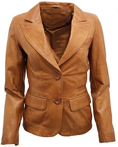 (Ladies Casual Tan Leather Blazer Jacket 8)