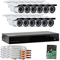 GW Security VD16CH12C50HDSDI 16 CH HD SDI DVR 1080P Security Camera System with 12 x 2.1 MP 1080P Varifocal Zoom, Outdoor Cameras and 3 TB Hard Drive (Grey)