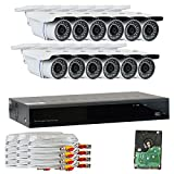 GW Security VD16CH12C50HDSDI 16 CH HD SDI DVR 1080P Security Camera System with 12 x 2.1 MP 1080P Varifocal Zoom, Outdoor Cameras and 3 TB Hard Drive (Grey) For Sale