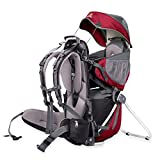 CORAZON PANDA FRAMED CHILD & BABY BACKPACK CARRIER CLARET RED for city carrying, outdoor trips and hiking. COMPLETE SET including all accessories- sun roof, foot rests, headrest and rain cover - maximum comfort & safety for you and your baby - Fits all Sizes