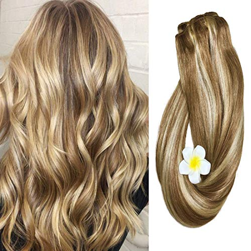 Clip in Hair Extensions Human Hair Dirty Blonde Highlights 12/613 18 inch Balayage Ombre Clip on for Fine Hair Full Head Silky Straight Soft Remy Hair (Hair Braided To The Side With Weave)