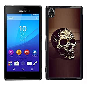 """For Sony Xperia M4 Aqua Case , Cráneo Negro Oro Bling Muerte 3D del motorista"""" - Diseño Patrón Teléfono Caso Cubierta Case Bumper Duro Protección Case Cover Funda"""