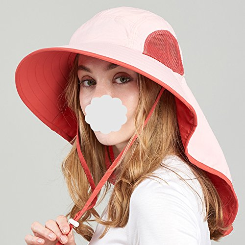 Ping Bu Qing Yun Summer Hat, Sun Hats Women Protect Neck Sunscreen Quick-Dry Packable Beach, 2 Colors Optional Sunhat (Color : Pink)