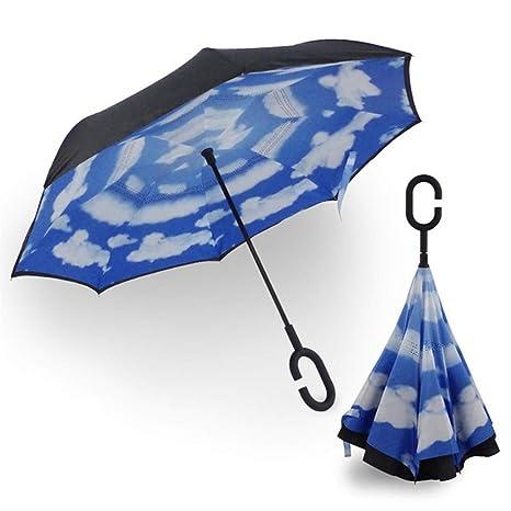 Invertida Paraguas Doble Capa, Paraguas inverso con Mango en Forma ...